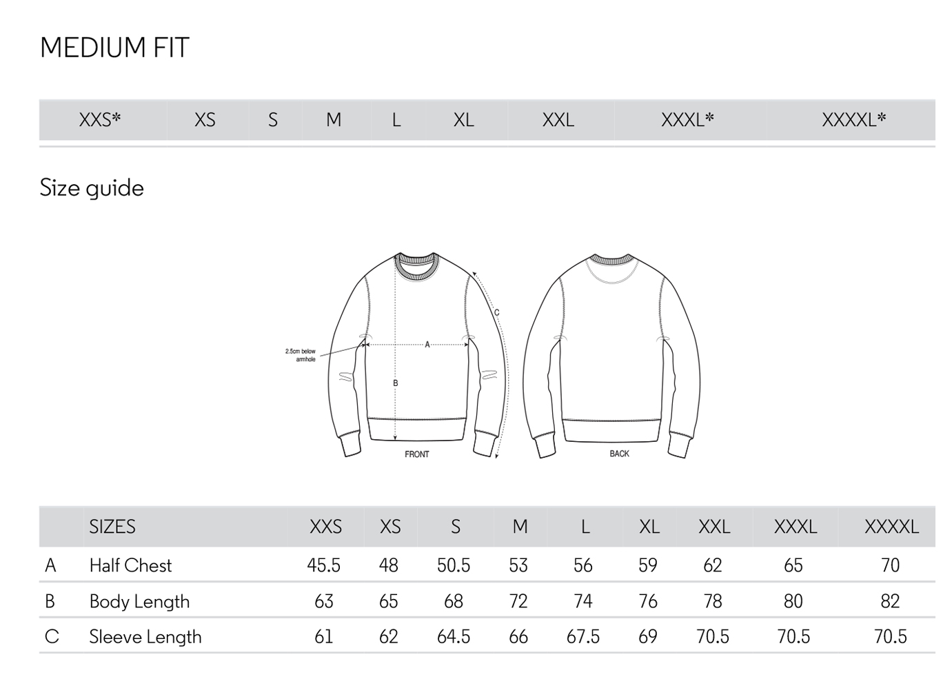 Sweat Shirt Size Sheet (GUIDE)