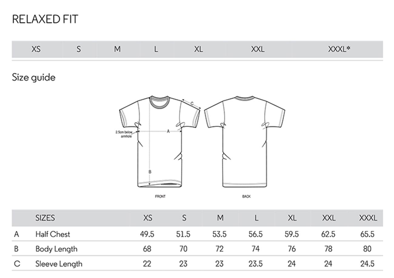 Tee shirt size Guide